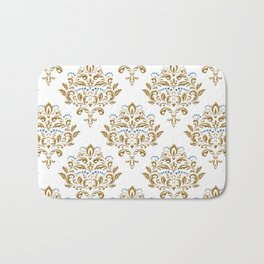 Crafted Damask Inspired Gold Pattern with Blue Accents Bath Mat