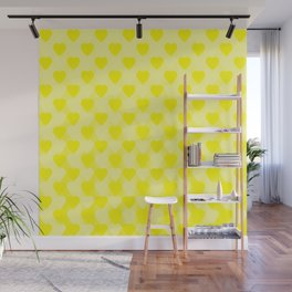 Zigzag of yellow hearts staggered on a light background. Wall Mural