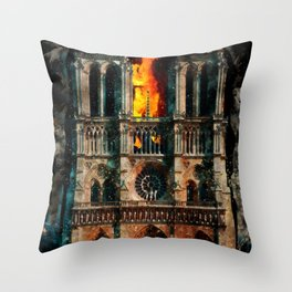 Notre Dame Cathedral on fire Throw Pillow