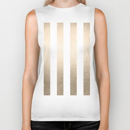 Simply Vertical Stripes in White Gold Sands Biker Tank