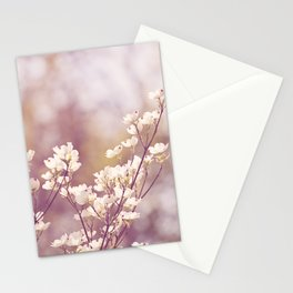 Pink White Spring Floral Photography, Dogwood Tree Blossoms, Lavender Flower Branches Stationery Cards