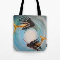 twins Tote Bags featuring Twins by RokinRonda