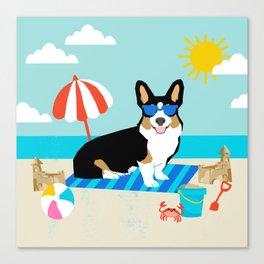 Tri Corgi Sandcastles Summer Beach Day sun corgi art tricolored corgi dog Canvas Print