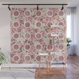 Double Happiness Symbol on Gentle Peony pattern Wall Mural