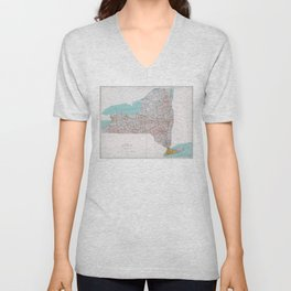 Map of the State of New York (1976) Unisex V-Neck
