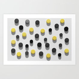 lastic bottle caps background with black and yellow pattern Art Print