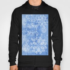 Abstract snow flakes on blue texture Hoody