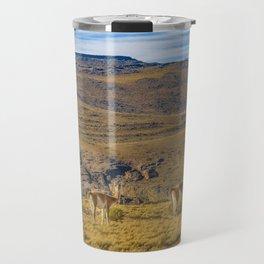 Group of Vicunas at Patagonia Landscape, Argentina Travel Mug