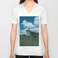 ford V-neck T-shirts featuring Ford Tractor by OctaviusEst