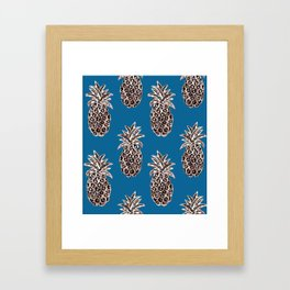 Christmas ornaments Gold Pineapples teal, Christmas decorations, Fruit, Holiday gift, Christmas gift Framed Art Print