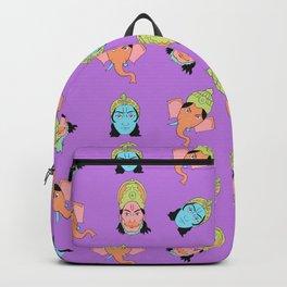 Lilac Krishna, Ganesha, and Hanuman pattern Backpack