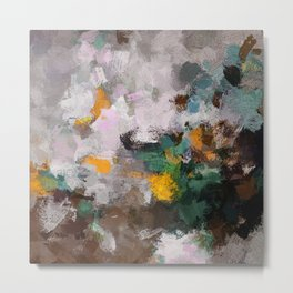 Modern Abstract Art in Brown, Green and Yellow Metal Print