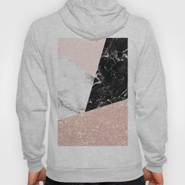 Black white marble blush pink rose gold glitter color block Hoody