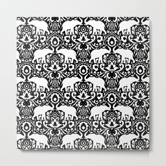 Elephant Damask Black and White Metal Print