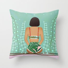 Alone girl #soiety6 Throw Pillow