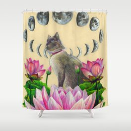 Moonphase Panda Shower Curtain