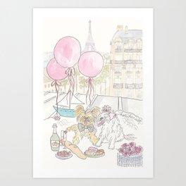 Puppy Dogs Paris Rooftop Picnic Romance Art Print