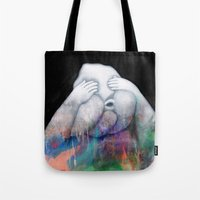 fear Tote Bags featuring Fear by Graphic Airlines