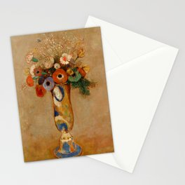 """Odilon Redon """"Wildflowers in a Long Necked Vase"""" Stationery Cards"""