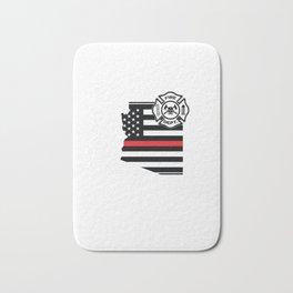 Arizona Firefighter Shield Thin Red Line Flag Bath Mat