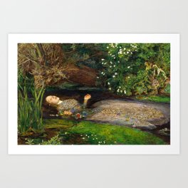 Ophelia Painting by John Everett Millais Art Print