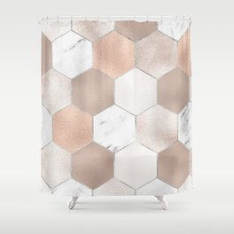 Rose pearl and marble hexagons Shower Curtain