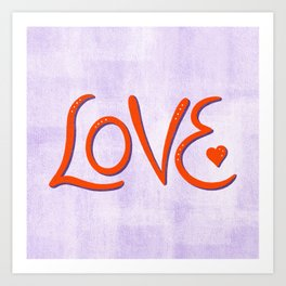 Love - Hand Lettered Word Art in Red and Purple Art Print