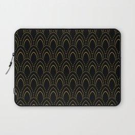 Black And Gold Foil Art-Deco Pattern Laptop Sleeve