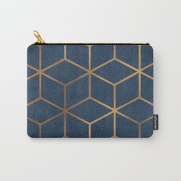 Dark Blue and Gold - Geometric Textured Cube Design Carry-All Pouch