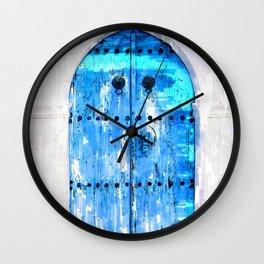 Blue Wooden Door Vintage - For Doors & Travel Lovers Wall Clock