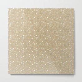 Gold & White Christmas Snowflakes Metal Print