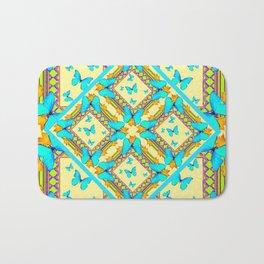 Western Style Turquoise Butterflies Creamy Gold Patterns Art Bath Mat