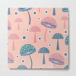 Dancing mushrooms in pink Metal Print
