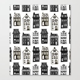 Mansard Mansions in Black + White Watercolor Canvas Print