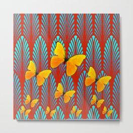 YELLOW ART DECO BUTTERFLIES & CUMIN COLOR ART Metal Print