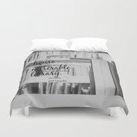 jane austen Duvet Covers featuring Jane Austen Library by KimberosePhotography
