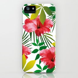 Hibiscus Flower and Leaf iPhone Case