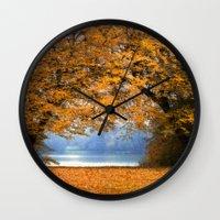 denmark Wall Clocks featuring Autumn in Denmark by by Henrik Wulff Petersen (zoomphoto)