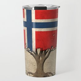 Vintage Tree of Life with Flag of Norway Travel Mug