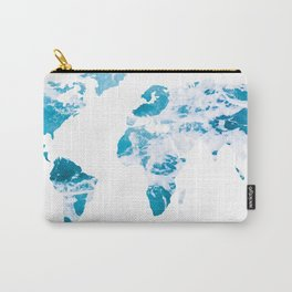 World Map Ocean Waves Carry-All Pouch
