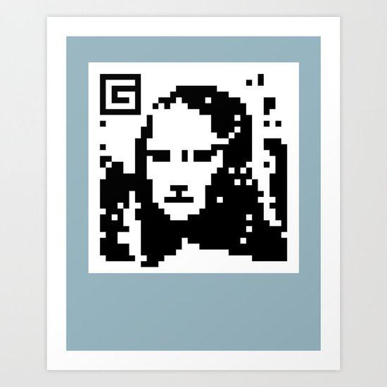 QR- Monalisa Art Print