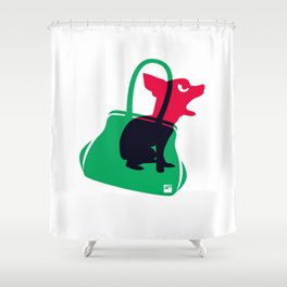 Angry animals: chihuahua - little green bag Shower Curtain