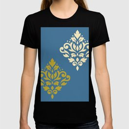 Scroll Damask Art I Gold & Cream on White T-shirt