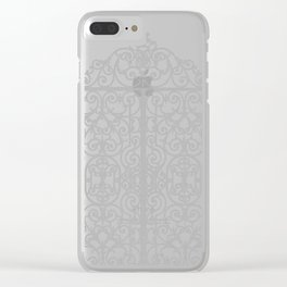 French Wrought Iron Gate | Louis XV Style | Ornate Ironwork | Black and Silvery Grey | Clear iPhone Case