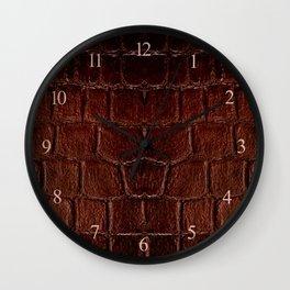 Dark brown snake leather cloth imitation Wall Clock