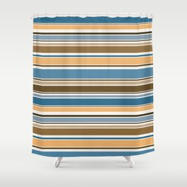 Wedgewood, Brown and Saffron Horizontal Stripes Shower Curtain