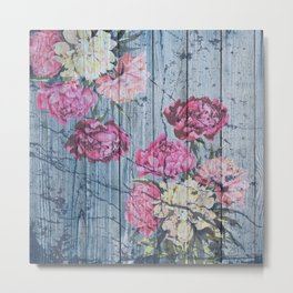Shabby chic with painted peonies Metal Print