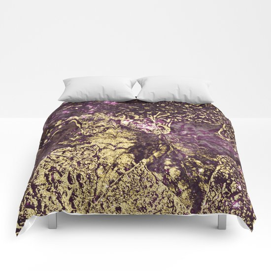 Purple leaves in melted gold Comforters