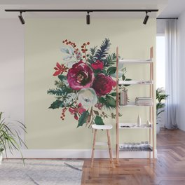Christmas Winter Floral Bouquet No Text Wall Mural