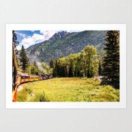 Durango and Silverton Colorado Train Passing Through The San Juan Mountains Art Print
